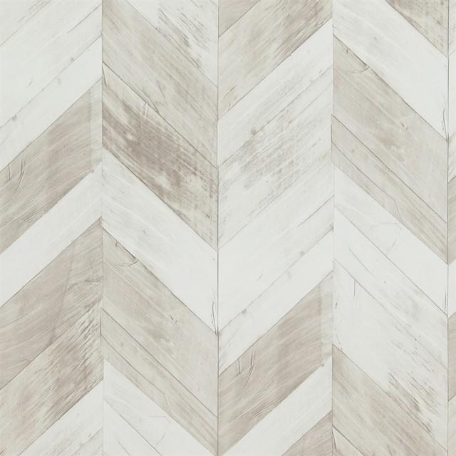 Wood Weathered Herringbone Wallpaper, White/gray, Double Roll.