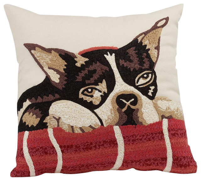 Dog Crewel Embroidered Pillow 12x12 Inches Traditional