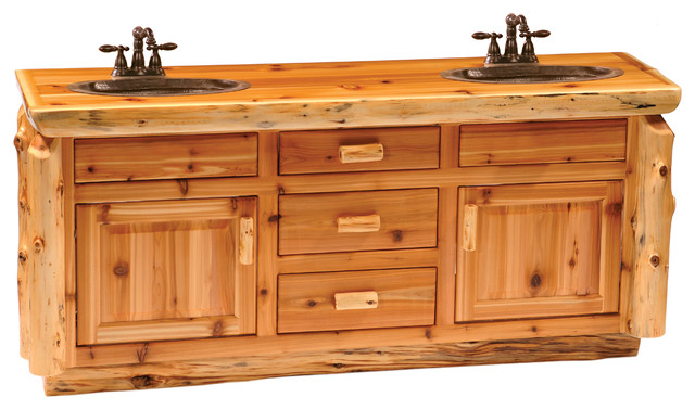 Cedar Vanity With Slab Style Top Double Sink With Drawers Centered Rustic Vanity Tops And