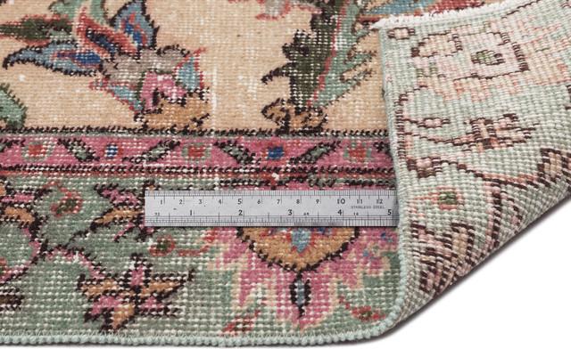 """Vintage Area Rug Natural 4'3""""x7'7"""" One of a Kind Turkish Vintage Rug"""