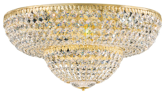 Petit Crystal 12-Light In Rich Auerelia Gold, Clear Spectra Crystal.