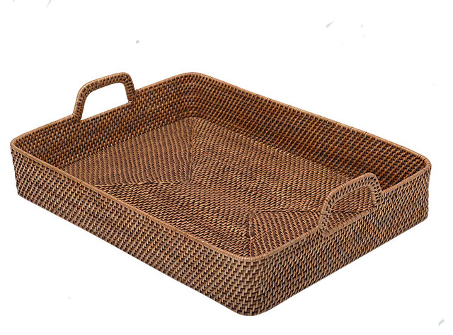 Rectangular High-Walled Serving Tray In Honey-Brown Rattan.
