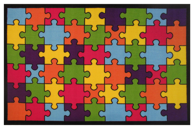 Jigsaw Puzzle Rug, Multi-Color, 39x58.