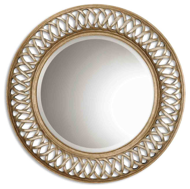 Antique Silver Leaf Gold Leaf Entwined Round Mirror With