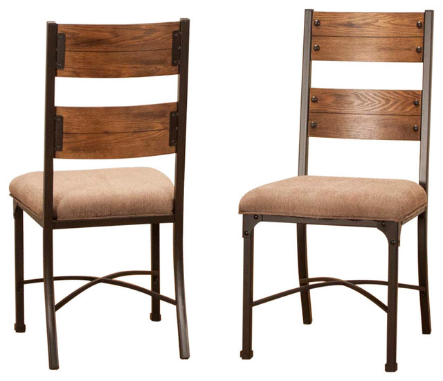 Rustic Elm Industrial Side Chairs, Set of 2