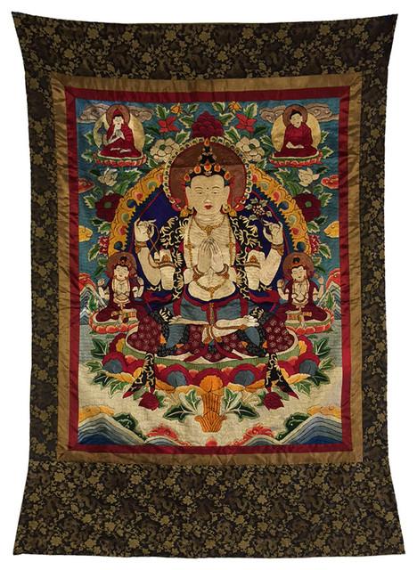 Tibetan Tara Thangka Buddha Embroidery Asian