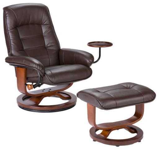 sei bonded leather recliner and ottoman - contemporary - recliner
