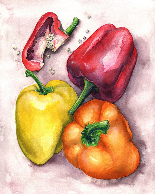 RED YELLOW PEPPERS KITCHEN BOX MOUNTED CANVAS PRINT WALL ART PICTURE PHOTO