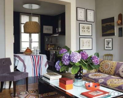grey and purple eclectic living room