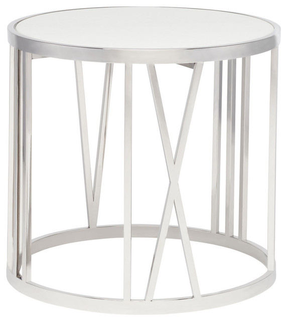 Roman White And Stainless Steel Side Table Modern Side Tables And End