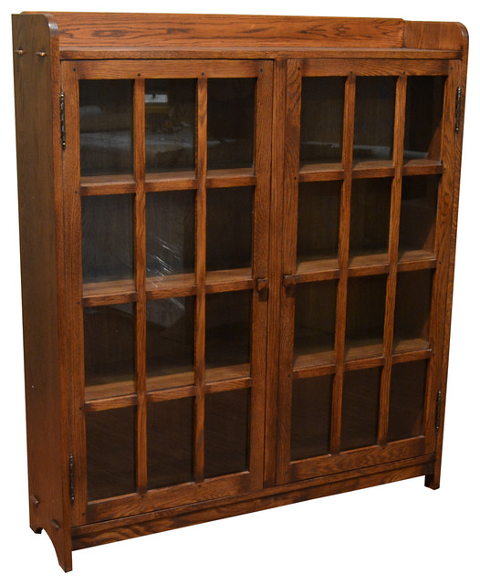 Oak Bookcase With Doors: Mission Oak Bookcase With 2 Glass Doors