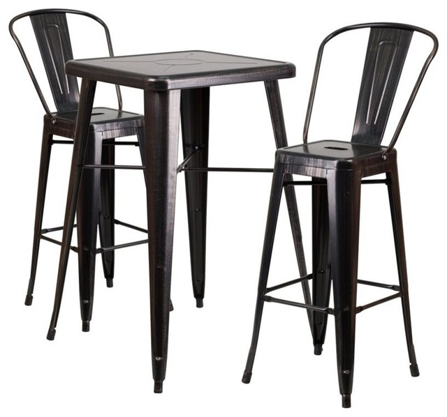 Flash Furniture Metal 3 Piece Bar Table Set In Black Antique Gold