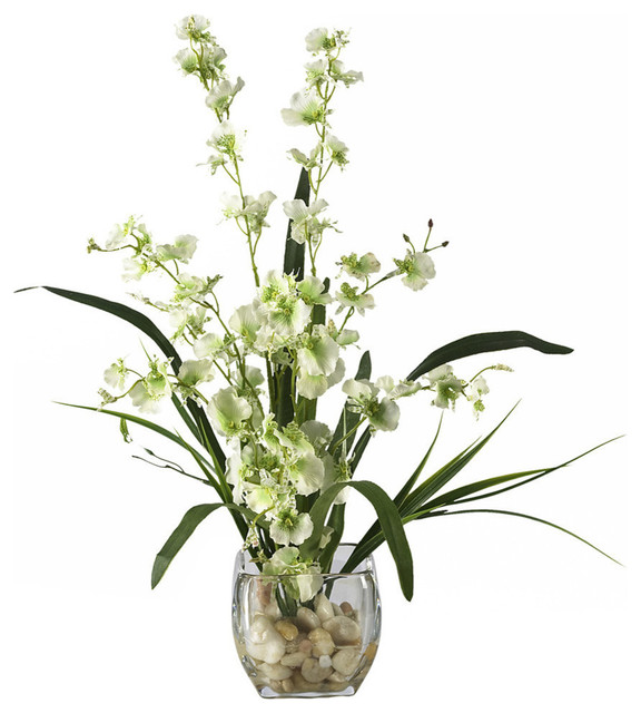 dancing lady orchid liquid illusion silk flower arrangement green traditional artificial arrangements for graves uk how to make