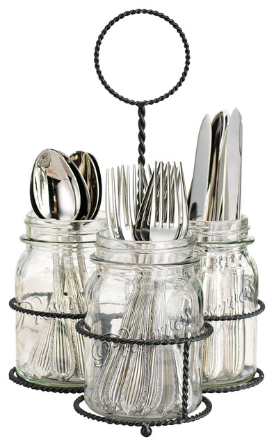 Del Sol Mason Jar Flatware Caddy.