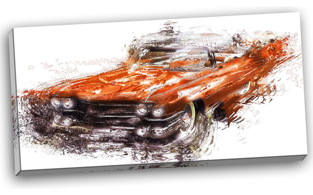 burnt orange classic car canvas painting modern kids toys and