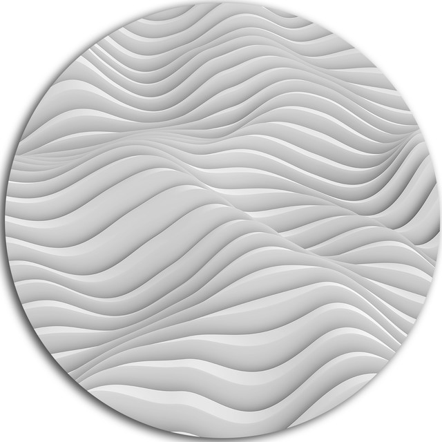 "Fractal Rippled White 3d Waves, Abstract Art Disc Metal Artwork, 11""."
