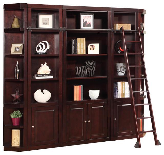 5-Piece Boston Library Wall Unit, Merlot.