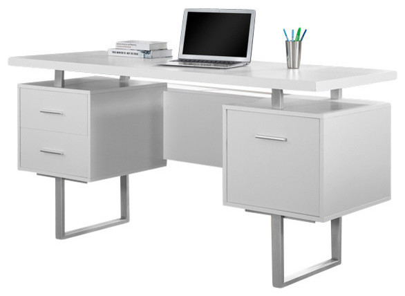 "Computer Desk Contemporary monarch specialties computer desk, 60"", cappuccino, silver metal"