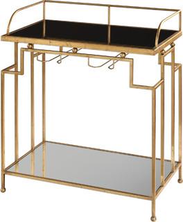 "Burgess 34.3"" Bar Cart Antique Gold Leaf Black/Clear Glass"