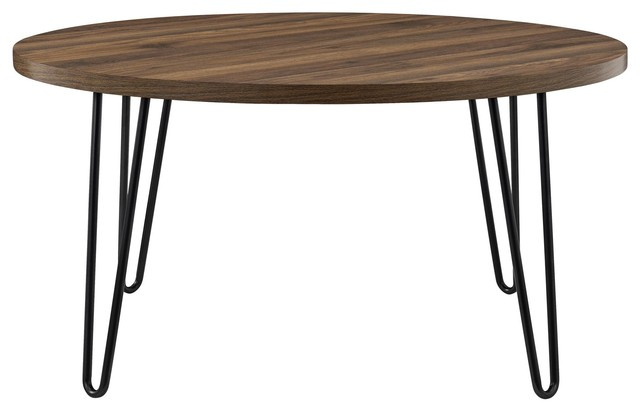 Maxwell Retro Round Coffee Table Walnut