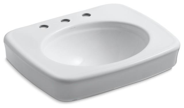Kohler Bancroft Pedestal Bathroom Sink Basin 8 Widespread Faucet Holes, White.