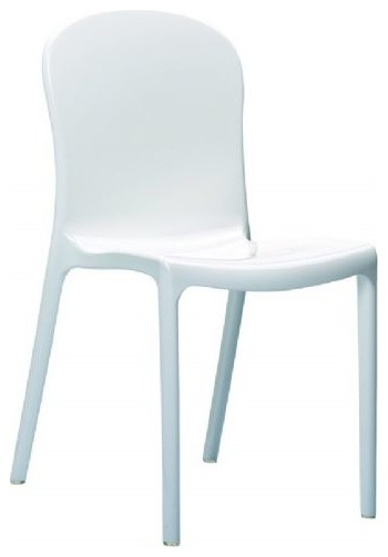 Victoria Polycarbonate Modern Dining Chair Glossy, White, Set Of 2  Outdoor Dining