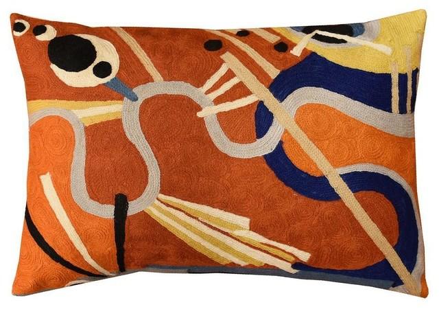 "Lumbar Intuitive Flow Ii Kandinsky Decorative Pillow Cover Wool 13""x21""."