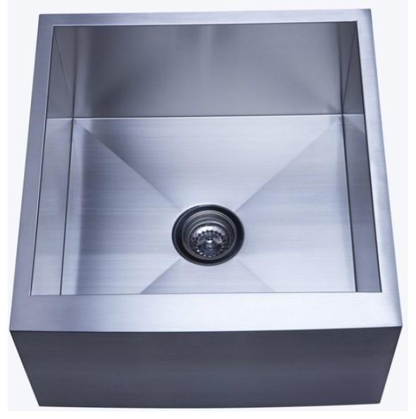 Gourmetier Single Bowl Farm House Kitchen Sink Satin Nickel Kuf212110bn.