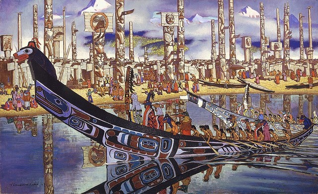 Perfect Native American Canoe And Totem Poles Wallpaper Wall Mural, Self Adhesive  Contemporary Wall Part 9