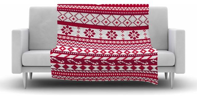 "Noonday Design ""Red Fairisle Christmas Pattern"" Fleece Blanket ..."