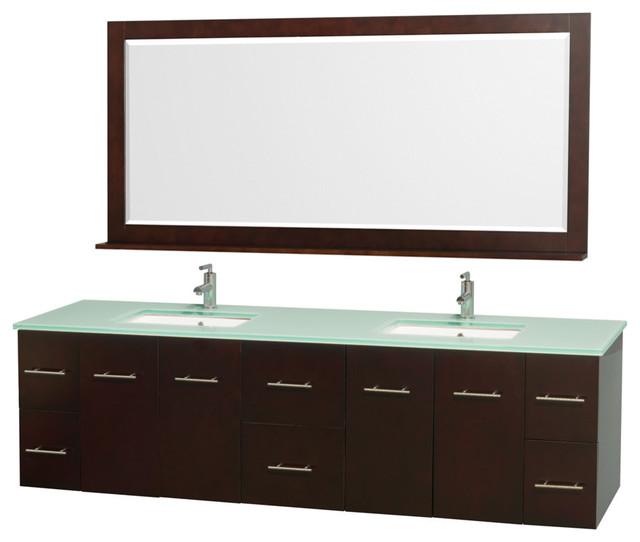 80 Double Bathroom Vanity With Green Glass Top, Undermount Sinks, Mirror.
