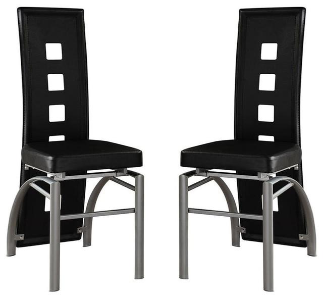 Contemporary Los Feliz Metal Dining Chairs, Set Of 2, Black.