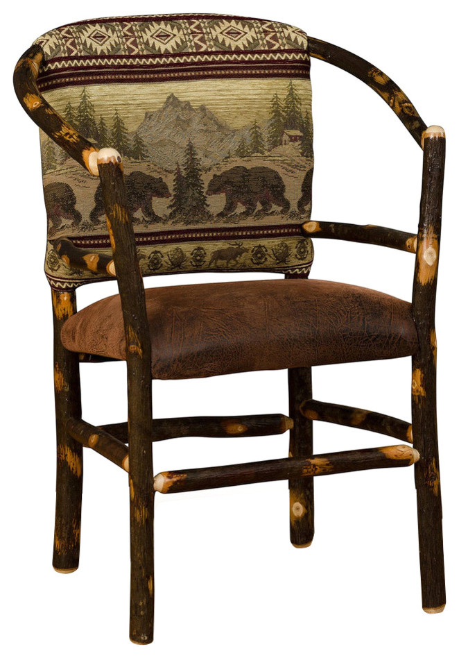 Rustic Hickory Hoop Chair With Padded Seat And Back