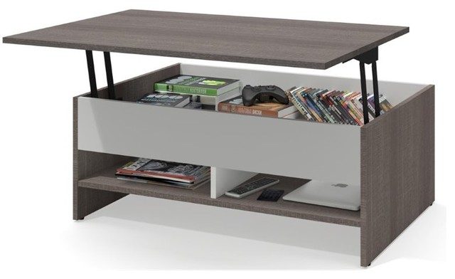 Bestar Small E Lift Top Coffee Table Bark Gray And White