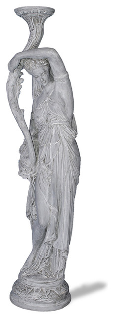 Empire Lady Statue, Lead Gray Victorian Garden Statues And Yard