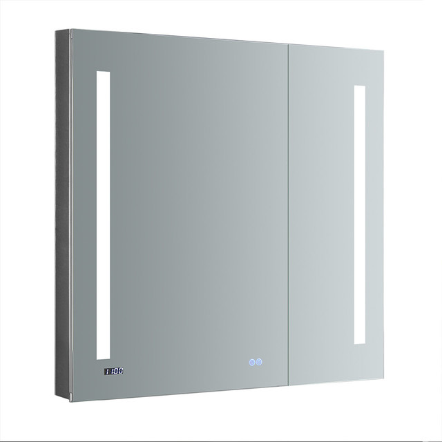 "Fresca Tiempo Bathroom Medicine Cabinet With Led Lighting, 36""x36""."