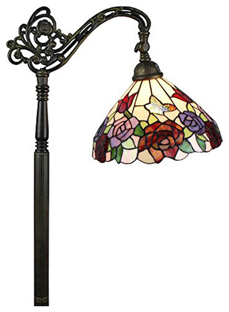Amora Lighting Tiffany Style Roses Reading Floor Lamp 62.