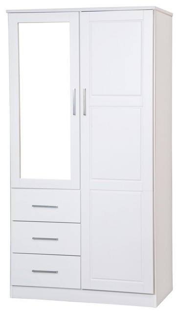 Metro Mirrored 2 Door Wardrobe With 3 Drawers By Palace Imports, White