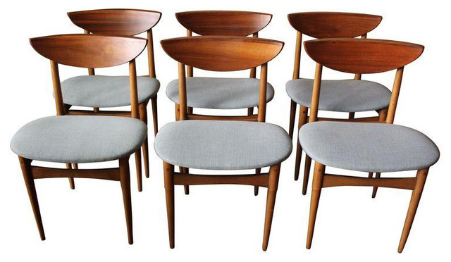 Mid Century Wood Gray Upholstery Dining Chairs Midcentury