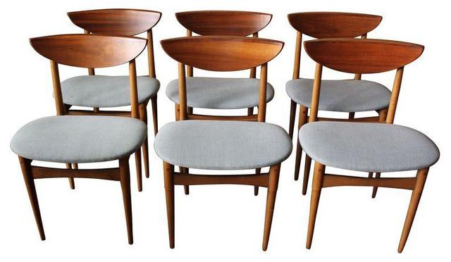 Mid Century Wood U0026 Gray Upholstery Dining Chairs Midcentury Dining Chairs