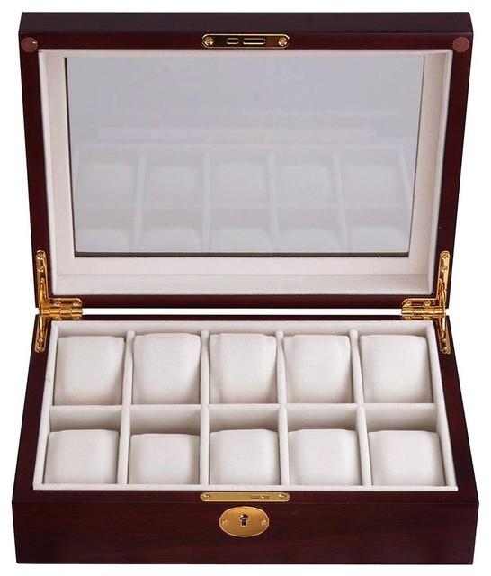 54f396270 ... Decorative Storage · Jewelry Boxes & Organizers. Item 1 of 4. 10 -Slot  Wood Watch Display Case, Cherry