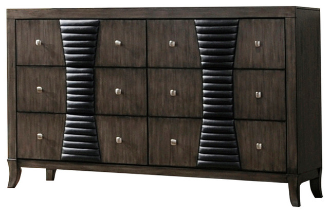 Borne Ash Gray Wood Shaker 6 Drawer Dresser Organizer.