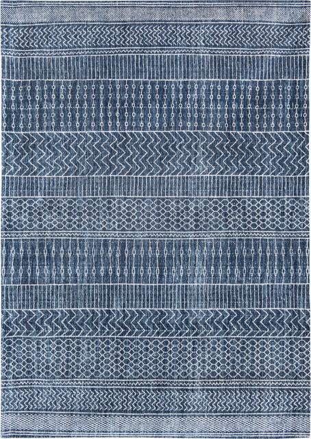 Khayma Agadir Scarab Blue Patterned Area Rug, 140x200 cm