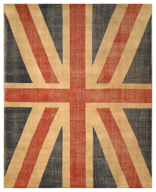 Hand-Knotted Wool Red Union Jack British Flag Rug