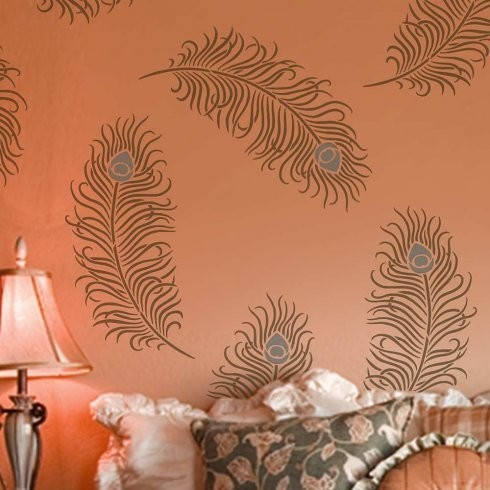 Peacock Feather Grande Wall Art Stencil Trendy Stencils For DIY Design