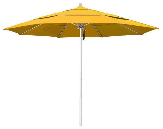 11&x27; Silver Anodized Commercial Umbrella, Yellow.