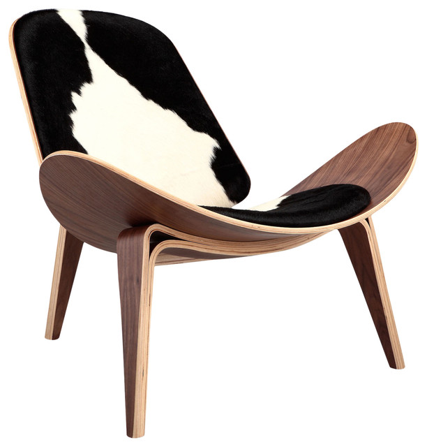 Bon Tripod Plywood Lounge Chair, Genuine Cowhide With Walnut Base, Black/White