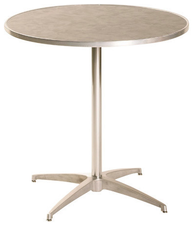 Standard Pedestal Laminate Round Table Frosty White With Channel Aluminum Edge Contemporary Dining Tables By Maywood Furniture Corporation