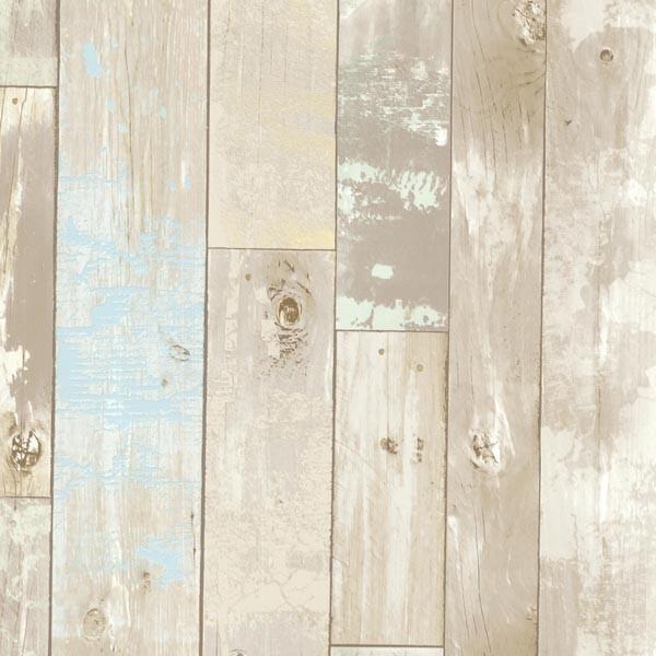 Dean Neutral Distressed Wood Panel Wallpaper Bolt