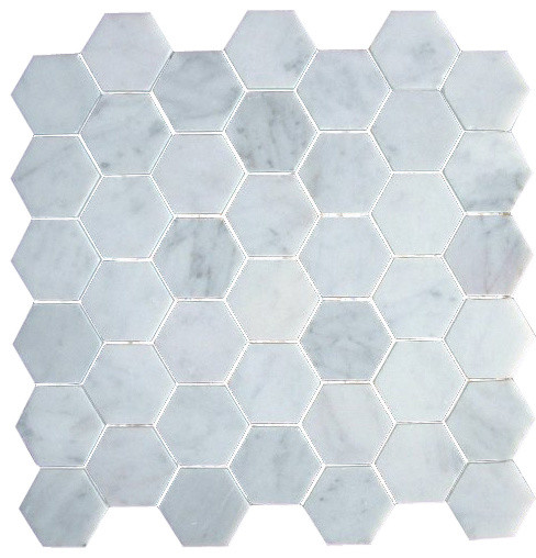 2 Inch Bianco Carrera White Marble Hexagon Mosaic Tile Honed
